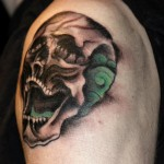 custom skull tattoo by Joe Galloway