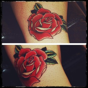 Traditional rose tattoo by Joe Galloway Leeds