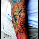 Indian God colour tattoo bold frame
