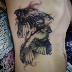 sparrow tattoo - ribs