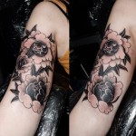 black and grey japanese flowers by joe galloway