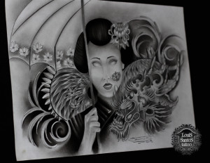 Geisha with dragon tattoo sketch